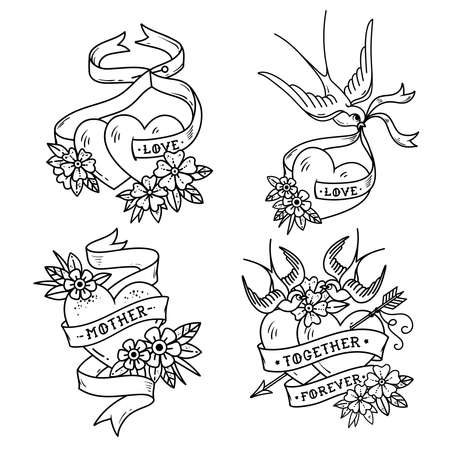Collection of Heart Tattoos with birds. Vintage