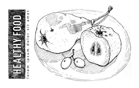 Pear, apple and grapes on plate. Still life of fruits. Healthy food. Healthy vegetarian. Ink sketch. Illustration for package design, label, sticker, t-shirt design, pillow, banner