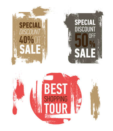 Grunge modern sale stickers. Flat modern sale labels. Discount banner design. Special discount 50 off sale. Best shopping tour. 일러스트