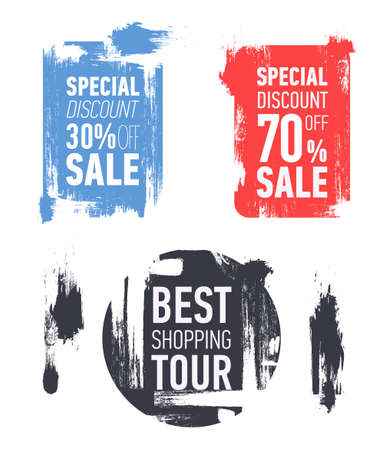 Grunge modern sale stickers. Flat modern sale labels. Discount banner design. Special discount 70 off sale. Best shopping tour.