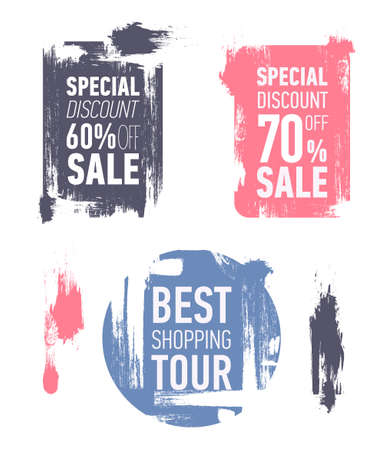 Grunge modern sale stickers. Flat modern sale labels. Discount banner design. Special discount 60 off sale. Best shopping tour.
