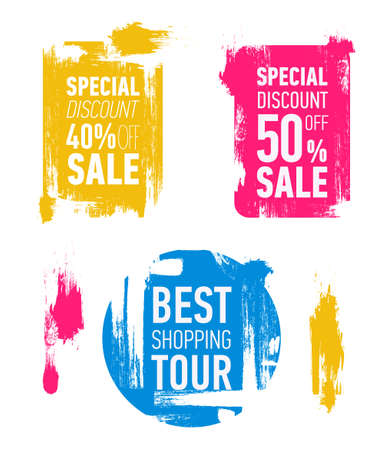 Grunge modern sale stickers. Flat modern sale labels. Discount banner design. Special discount 40 off sale. Best shopping tour.