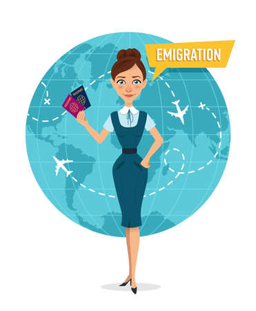 Woman is standing and holding passports in front of world map. Employee of company is engaged in emigration. Emigration concept. 스톡 콘텐츠