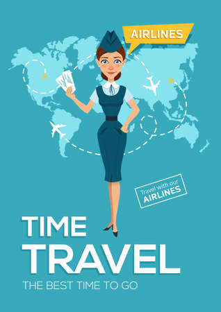 Advertising poster, banner of airline. The best time to travel. Stewardess keeps air tickets and offers to go on trip around world. illustration