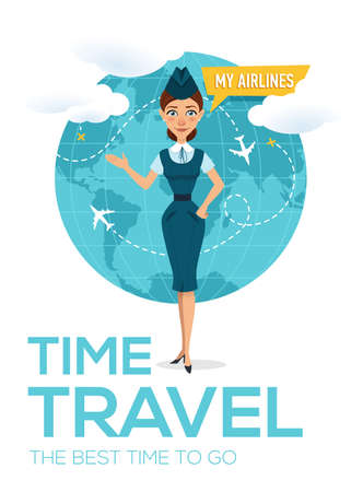 Travel around the world brochure. Modern travel template of flyer, magazine, poster, book cover, banner. Stewardess shows his hand on globe and offers to go on trip.