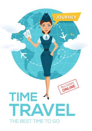 Online flight booking service. Buy tickets online. Advertising poster, banner. Stewardess keeps air tickets and offers to go on trip around world. illustration