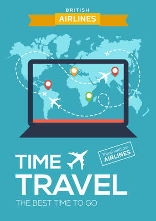 Advertising poster, banner of airline. The best time to travel. illustration with laptop, map of world, map markers and flight of airplane