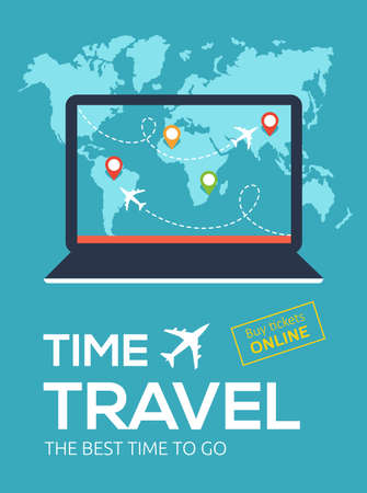 Banner of Travel Company. Online flight booking service.Time travel. The best time to go. Illustration with laptop, map of world, map markers and flight of airplane 版權商用圖片 - 154520571