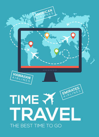 Modern travel flyer, poster, banner. Banner of Travel Company. The best time to travel. Screen of monitor on background of map of world with map markers and airplane flight 스톡 콘텐츠