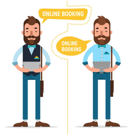 Online Booking. Man with tablet making online order, booking accommodation hostel, booking tickets for concert on tablet 스톡 콘텐츠