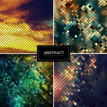 Set of vector shiny mosaic backgrounds.Abstract square golden mosaic backgrounds. Collection abstract sparkling backgrounds. 일러스트