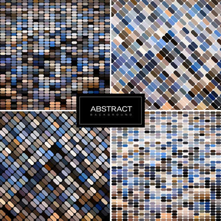 Set of vector pastel mosaic backgrounds. Collection of abstract vector round dots backgrounds . 일러스트