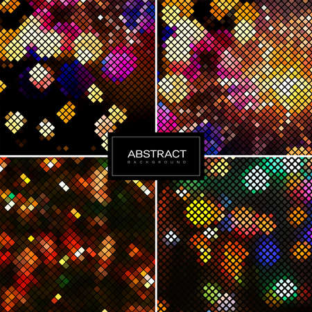 Set of holiday shiny mosaic backgrounds. Abstract square golden mosaic backgrounds. Collection abstract sparkling backgrounds.