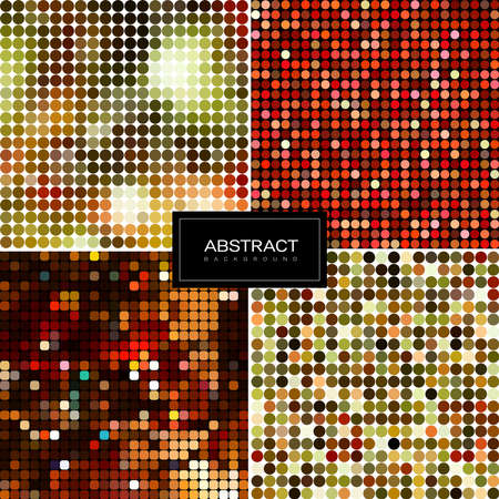 Collection of abstract sparkling mosaic backgrounds. Shiny, glowing wallpapers. Golden shiny mosaic in disco ball style.