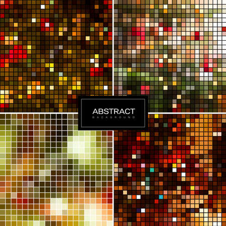 Set of holiday sparkling mosaic backgrounds. Shiny, glowing wallpapers. Collection abstract shiny backgrounds. Vektorgrafik