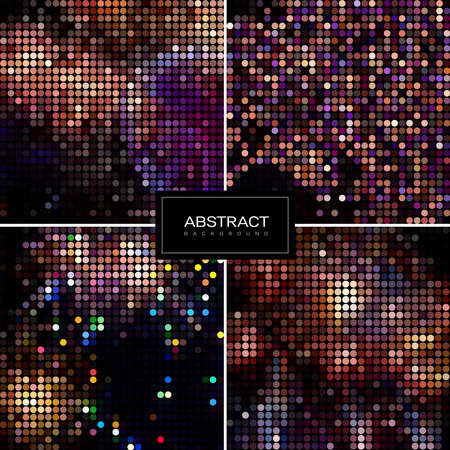 Set of holiday sparkling mosaic backgrounds. Shiny, glowing wallpapers. Collection abstract shiny backgrounds.