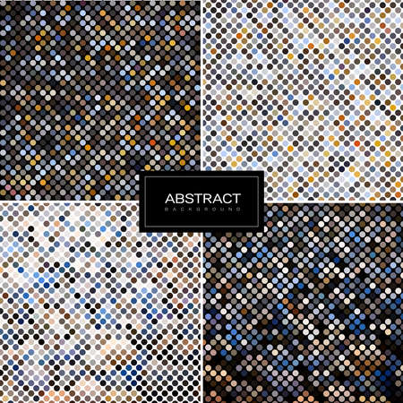 Collection of round abstract mosaic background. Set of abstract mosaic patterns 일러스트