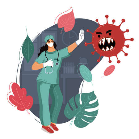 Doctor stops pandemic. Medicine stops epidemic. Concept medicine protects people from flu. Stop coronavirus. Natural immunity. Natural defense. Virus control