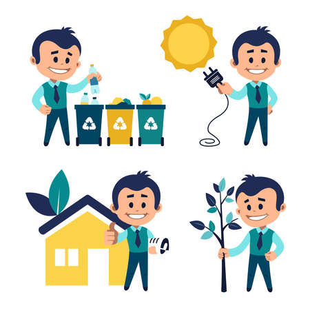 Environmental protection concept. Man sorting garbage. Man planting tree. Solar energy concept. Man near eco house. Eco building concept 일러스트