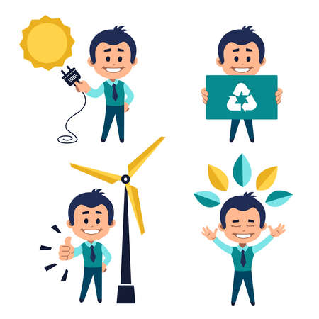 Environmental protection concept. Solar energy concept. Man use solar energy.Concept use of natural resources. Man use wind power. Man near windmill. Ecologist holding board with recycling sign.