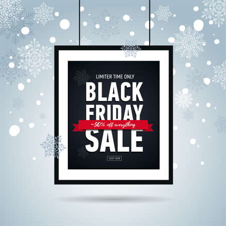 Black friday sale poster in frame on background with snowflakes. Seasonal sale. Winter snowy banner. Black Friday Sale 50 off everything. Online shopping 일러스트