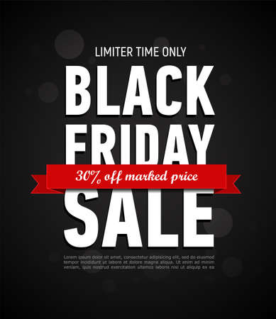 Black Friday sale inscription design template. Trendy banner. Discount 30 off marked price. Advertising banner. 일러스트