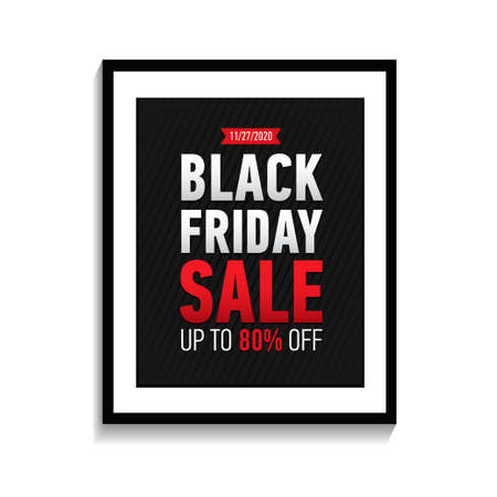 Black friday sale poster in black frame on white wall. Black Friday banner isolated on white background. Black friday sale up to 80 off 일러스트