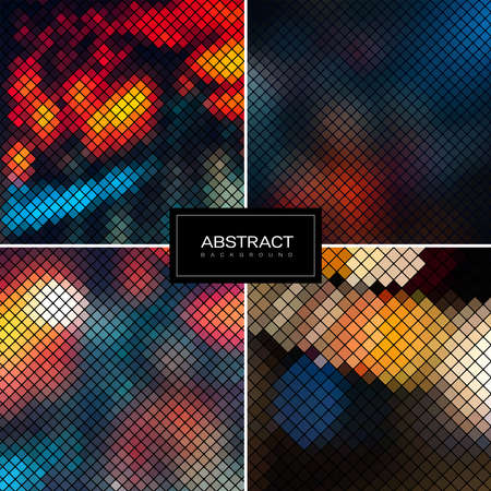 Set of Vector sparkling mosaic backgrounds. Shiny, glowing wallpapers. Collection abstract blurred backrounds. 일러스트