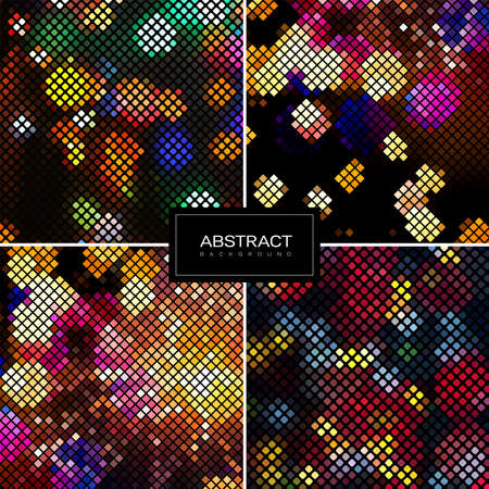 Set of vector shiny mosaic backgrounds.Abstract square golden mosaic backgrounds. Collection abstract sparkling backrounds.