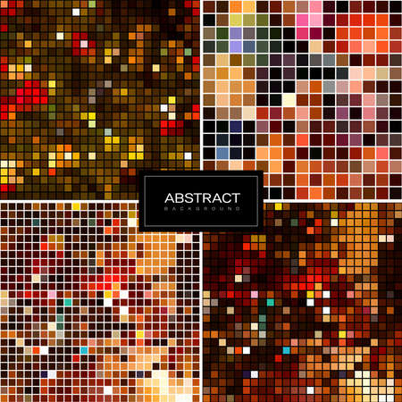 Set of holiday square sparkling mosaic backgrounds. Shiny, glowing wallpapers. Collection abstract shiny backrounds. 版權商用圖片 - 155265623