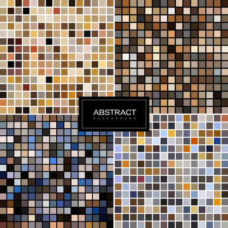 Set of vector pastel mosaic backgrounds from square tiles. Pastel tiled design . Pastel mosaic background for bathroom, kitchen, toilet interior design Collection abstract backrounds. 版權商用圖片 - 155265624