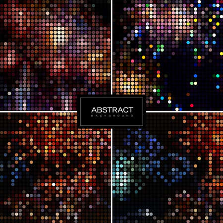 Set of holiday sparkling mosaic backgrounds. Shiny, glowing wallpapers. Collection abstract shiny backrounds. 일러스트