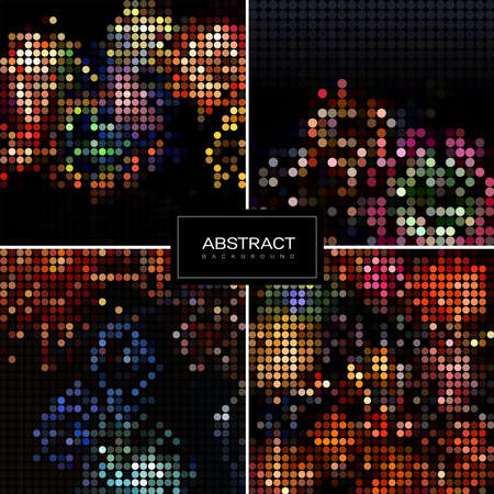 Set of holiday sparkling mosaic backgrounds. Shiny, glowing wallpapers. Collection abstract shiny backrounds.