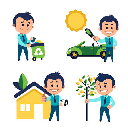 Environmental protection concept. Man takes out garbage for recycling. Man planting tree. Man charges car from solar panels. Solar energy concept. Man near eco house. Eco building concept