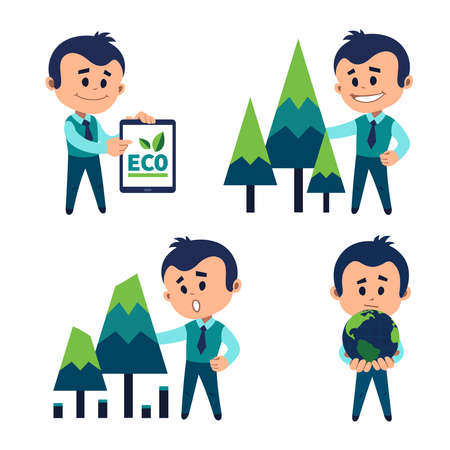 Protection of natural resources. Ecologist protects ecology of planet. Planting and preserving forests. Protecting forest from deforestation. Ecologist points eco label on tablet.