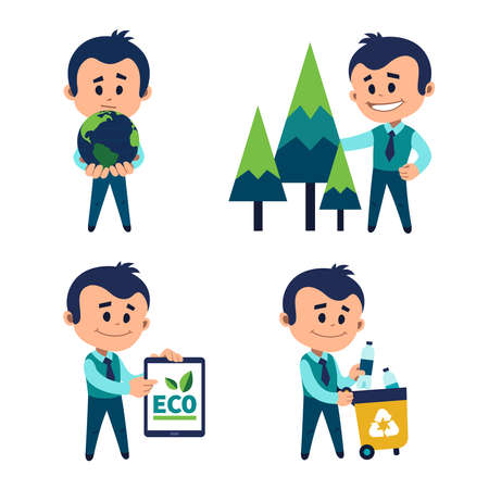 Environmental protection concept. Man holding Earth in his palms. Planting and preserving forests. Man carries container with garbage for recycling. Ecologist draws attention to ecology on tablet. Illusztráció