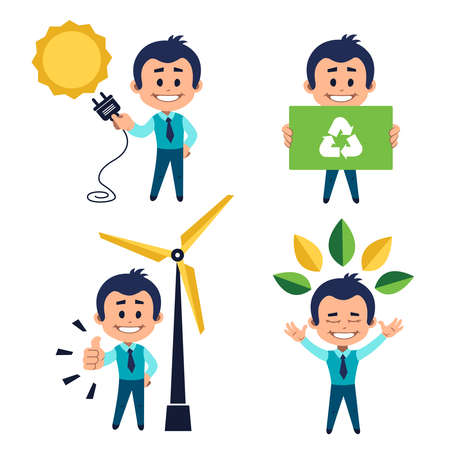 Environmental protection concept. Solar energy concept. Man use solar energy.Concept use of natural resources. Man use wind power. Man near windmill. Ecologist holding board with recycling sign. 版權商用圖片 - 155678258