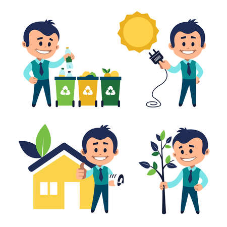 Environmental protection concept. Man sorting garbage. Man planting tree. Solar energy concept. Man near eco house. Eco building concept 向量圖像