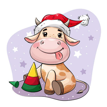 Cute Cartoon Bull in Santa hat playing with Christmas tree pyramid. Vector illustration on greeting card, holiday card, stickers, calendar.