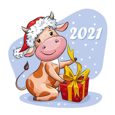 Beautiful Cartoon cow in Santa hat opens Christmas gift. Symbol of 2021 year. Vector illustration for calendar, greeting card, holiday card, stickers, 版權商用圖片 - 158721682