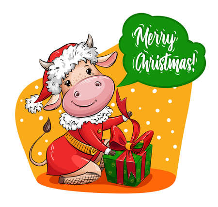 Beautiful Cartoon cow in Santa suit packs christmas gift. Symbol of year. Christmas vector illustration for calendar, greeting card, holiday card, stickers,