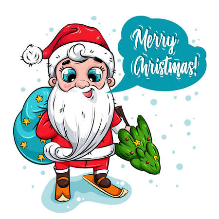 Merry Christmas card. Santa Claus with big bag and Christmas tree goes skiing. Holiday illustration for calendar, greeting card, stickers