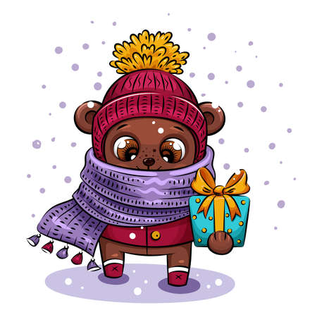 Cute cartoon bear in knitted hat and violet scarf is carrying Christmas gift. Holiday illustration for calendar, greeting card, stickers 向量圖像