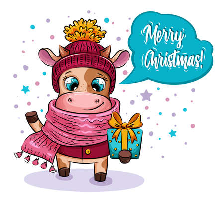 Merry christmas card. Cartoon cow in knitted hat and scarf with Christmas gift in snowy day. Holiday illustration for design of calendar, greeting card, stickers 版權商用圖片 - 158721687