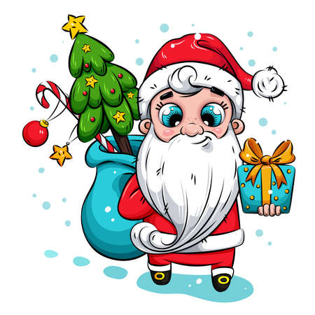 Christmas illustration. Santa Claus with Christmas tree and gifts. Santa Claus brings gifts to children. Holiday illustration for calendar, greeting card, stickers