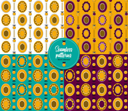 Seamless flower patterns. Floral collection. It can be used for wallpaper, pattern fills, textile design, scrapbooking