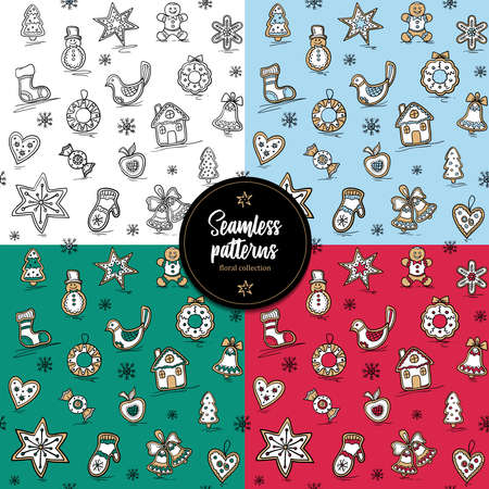 Collection of Christmas patterns with Gingerbreads. Vector illustration for your website or packaging design and fabric. 版權商用圖片 - 158793520