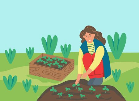 Gardening on the farm. A young woman is working in the garden, the farmer planted the seedlings. Flat vector illustration.