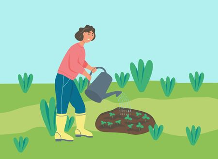 Gardening on the farm. A young woman is working in the garden, the farmer waters the plants. Flat cartoon vector illustration.