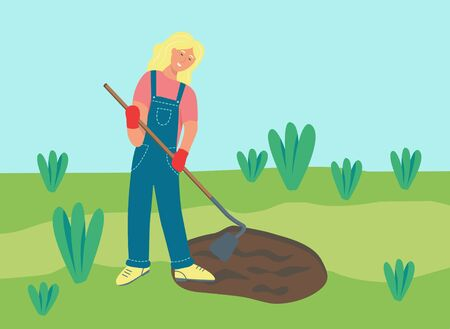 Gardening on the farm. A young woman is working in the garden, raking the ground. Flat vector illustration.